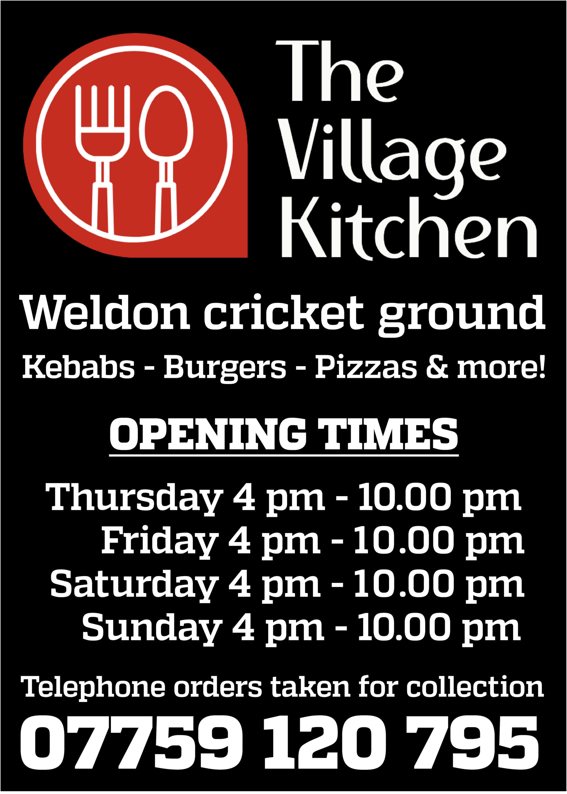The Village kitchen Sidebar Ad revised hours